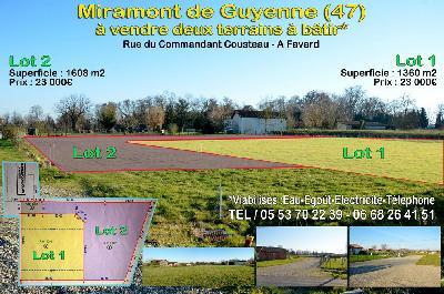 Miramont - vends deux terrains à bâtir