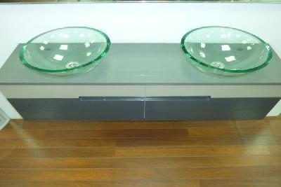 meuble salle de bain 2 vasques en verre