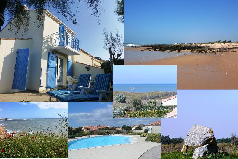Maison 2-4 pers., vue mer du balcon,plage 250m, 2 ch., dans résid.,piscine, tennis